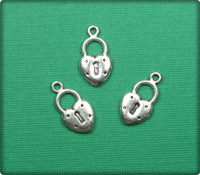 Heart Lock Charm - Antique Silver
