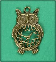 Owl Clock Charm - Antique Brass