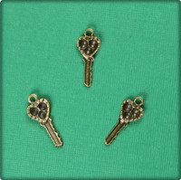 Heart Key (Small) Charm - Antique Brass