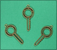 Textured Key Charm - Antique Brass