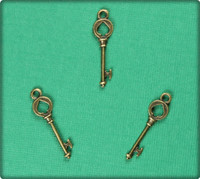 Key of Spades (Small) Charm - Antique Brass