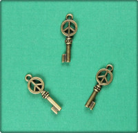 Peace Symbol Key Charm - Antique Brass