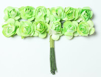 "Mulberry Paper Flowers (12 Flowers) - 3/8"" Apple Green"