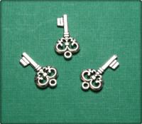 Fleur de Lis Key Charm - Antique Silver