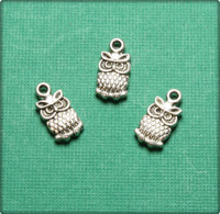 Cute Owl Charm - Antique Silver