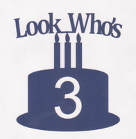 Look Who's Three - Navy Blue - Die Cut