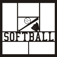 Softball with Ball, Bat and Glove - 12x12 Overlay