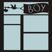 Stork with BOY Banner - 12x12 Overlay