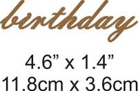 Birthday - Beautiful Script Chipboard Word