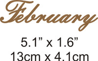 February - Beautiful Script Chipboard Word