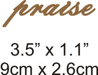 Praise - Beautiful Script Chipboard Word