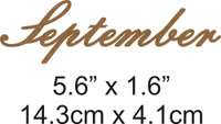 September - Beautiful Script Chipboard Word