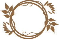 Frame - Round  with Leaf Flourish - Chipboard Embellishment