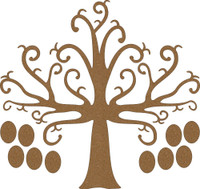 Tree with flourishes and Ovals - Chipboard Embellishment