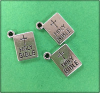 Holy Bible Charm - Antique Silver
