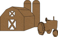Barn with Tractor and Silos - Chipboard Embellishment