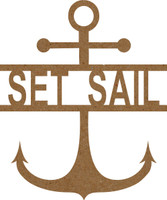 Anchor with text Set Sail - Chipboard Embellishment