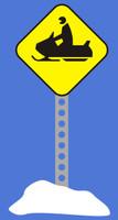 Snowmobile Crossing Sign - Die Cut