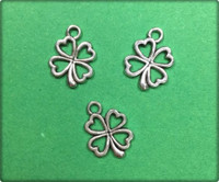 Four Leaf Clover Open Charm - Antique Silver