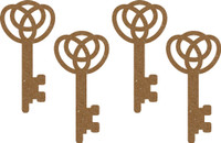 Stylish Key (4 Pack) - Chipboard Embellishment