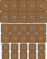 Buttons - Square (30 Pack) - Chipboard Embellishment