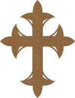 Cross with Fleur de Lis - Chipboard Embellishment