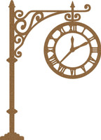 Street Post Clock - Chipboard Embellishment