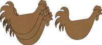Chickity Chicken Small 4 Pack - Chipboard Embellishment
