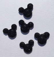 Mickey Cabochon  5 Pack - Black Rhinestone