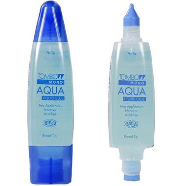 Dual applicators in one ergonomic dispenser. Pen tip for small areas or fine line of glue and broad tip for large areas. Strong permanent bond that goes on clear and dries clear. Ideal for embellishments, photos, cardstock, poster board and much more.    Acid-free and photo-safe  Washable  Will not leak or clog