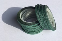 Washi Tape 1/4 Inch 10 Pack - Emerald Glitter