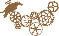 Steampunk Gears & Bird - Chipboard Embellishment
