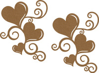 Heart Swirl - 2 Pack  Chipboard Embellishment