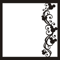 Mouse Ears Flourish Black Right - 12 x 12 Scrapbook OL