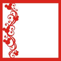 Mouse Ears Flourish Red Left - 12 x 12 Scrapbook OL