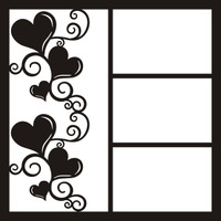 Heart Swirls Left  - 12 x 12 Scrapbook OL