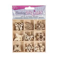 Wood Butterfly Embellishments - 45 pieces