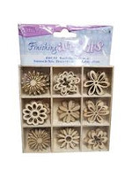 Wood Flower Embellishments - 45 pieces