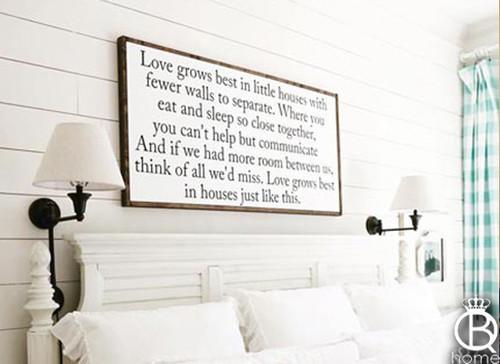 Love Grows Best Large Framed Wood Sign