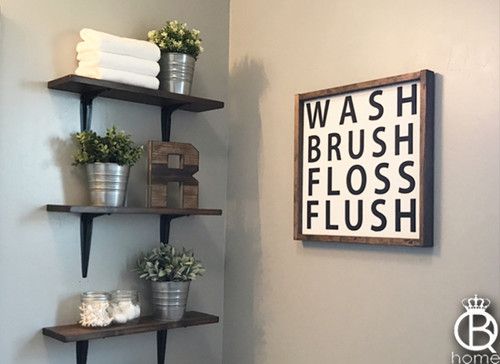Wash Brush Floss Flush 12x12 Framed Wood Sign