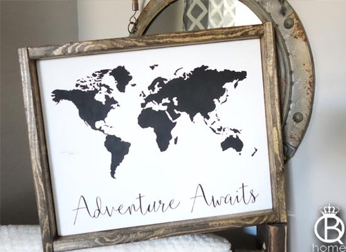 Adventure Awaits Framed Wood Sign