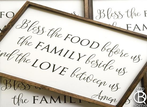 Bless The Food Before Us Wood Sign