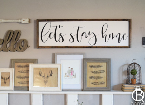 Let's Stay Home Horizontal Framed Wood Sign