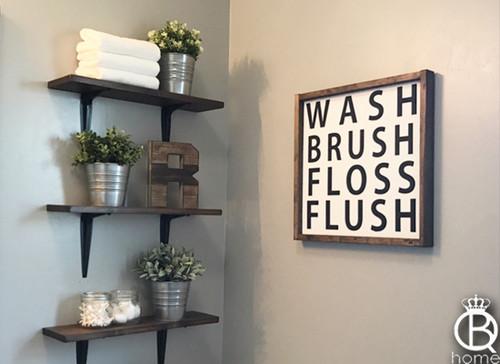 Wash Brush Floss Flush Framed Wood Sign 20x20