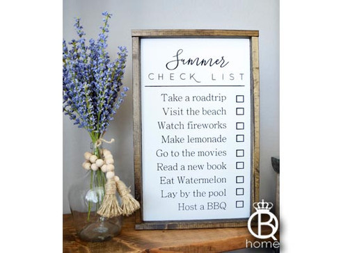 Summer Checklist Framed Wood Sign