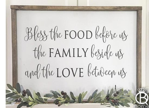 "Bless The Food Before Us Wood Sign 48""x24"""