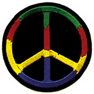 Peace Sign Iron-On Patch Colors Circle Logo