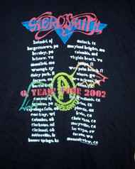 Aerosmith T-Shirt O Yeah Tour 2002 Black Size Large