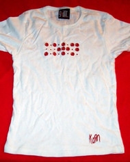 Korn Babydoll T-Shirt Red Dots Logo White One Size