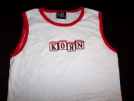 Korn Sleeveless Babydoll Shirt Building Blocks Logo White One Size